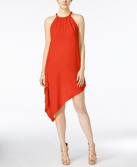 Xoxo Juniors' Braided Trim Asymmetrical Hem Shift Dress Red