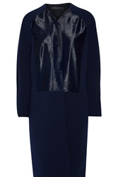 Roland Mouret Jassid Calf Hair Paneled Wool Blend Coat Blue