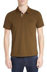 Burberry Men's Brit 'Oxford' Short Sleeve Polo Olive Green