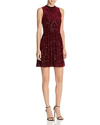 Aqua Burnout Velvet Dress Burgundy