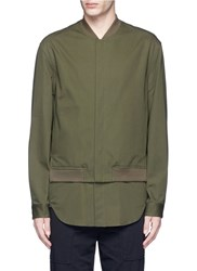 3.1 Phillip Lim Shirt Layer Twill Bomber Jacket Green