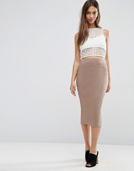 Asos High Waist Longerline Pencil Skirt Taupe Beige