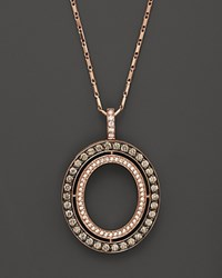 Bloomingdale's Brown And White Diamond Oval Pendant Necklace In 14K Rose Gold 1.0 Ct. T.W. Rose Gold Multi