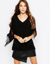 See U Soon Fringed Poncho Top Black