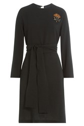 Rochas Belted Dress With Embellished Brooch Black