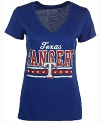G3 Sports Sport Women's Texas Rangers Flyout Glitter T Shirt Royalblue