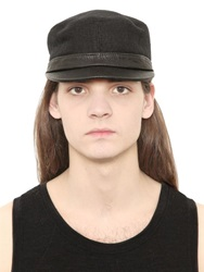 Isabel Benenato Linen Hat With Leather Visor