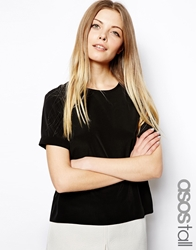 Asos Tall Woven T Shirt With Roll Sleeve Black