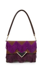 Sara Battaglia Jasmine Shoulder Bag Brown Violet