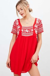 Ecote Embroidered Gauze Frock Dress Red Multi