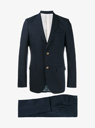 Gucci Jacquard Wool Suit Navy White