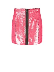 Markus Lupfer Ashley Holographic Sequin Skirt Pink Pink