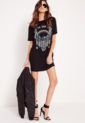 Missguided Bad To The Bone Oversized T Shirt Dress Black Black