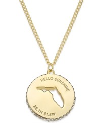 Kate Spade New York State Of Mind Gold Tone State Cutout Pendant Necklace Florida