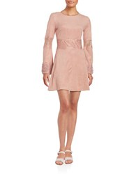 Design Lab Lord And Taylor Faux Suede Long Sleeve Fit Flare Dress Blush