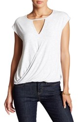 H By Bordeaux Wrap Front Keyhole Tee White
