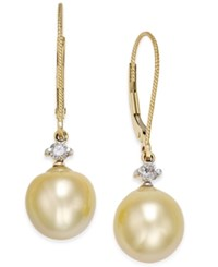 Macy's Cultured Baroque Golden South Sea Pearl 9Mm And Diamond 1 6 Ct. T.W. Drop Earrings In 14K Gold Yellow