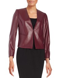 Tahari By Arthur S. Levine Faux Leather Open Front Jacket Garnet