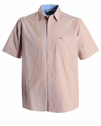 Double Two Stripe Classic Fit Classic Collar Shirt Orange