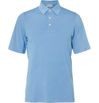 Kjus Golf Soren Striped Stretch Jersey Polo Shirt Blue