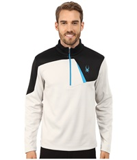 Spyder Charger Therma Stretch T Neck Top Cirrus Black Electric Blue Men's Long Sleeve Pullover White