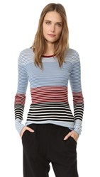 Theory Mirzi St Sweater Ocean Blue Stripe