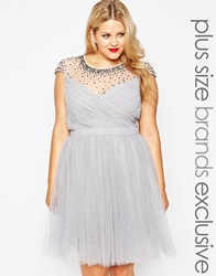 Little Mistress Plus Tulle Prom Dress With Embellished Sheer Detail Grey