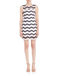 Milly Sleeveless Chevron Sheath Dress Navy White