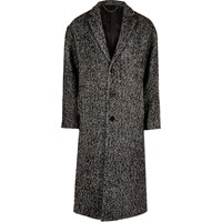 River Island Mens Grey Herringbone Print Smart Overcoat