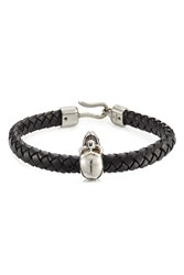 Alexander Mcqueen Woven Leather Bracelet With Skull Charm Black