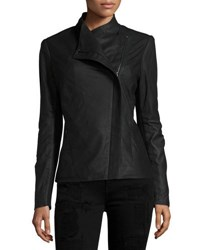 T Tahari Asymmetric Leather Jacket Black