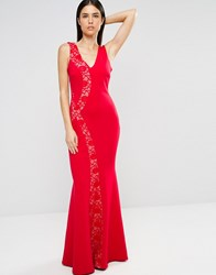 Jessica Wright Maxi Dress With Lace Panel Red