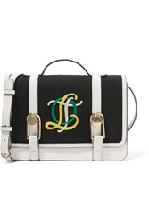Olympia Le Tan Victoire Mini Embroidered Canvas And Leather Shoulder Bag Black