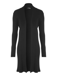 Jane Norman Black Mid Length Ribbed Cardigan