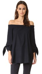 Tibi Off Shoulder Tunic Navy