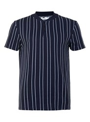 Topman Navy Stripe Baseball Neck T Shirt Blue