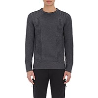 Helmut Lang Men's Mixed Knit Sweater Dark Grey