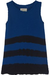 Current Elliott The Muscle Striped Linen And Cotton Blend Jersey Tank Blue