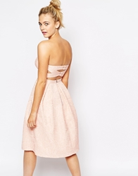 Lashes Of London Bandeau Full Midi Dress With Cut Out Back In Textured Rose Nude