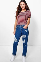 Boohoo Mid Rise Ripped Mom Jeans Mid Blue