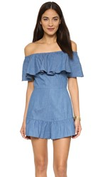 Shakuhachi Genie Off Shoulder Romper Denim