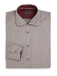 Corneliani Circle Print Dress Shirt Grey