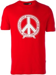 Love Moschino Peace Symbol Print T Shirt Red