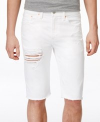 Levi's Men's 511 Slim Fit Cutoff Ripped Jean Shorts White
