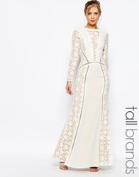 Jarlo Tall Long Sleeved V Neck Maxi Dress With Lace Panels Cream