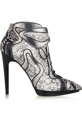 Pierre Hardy Degrade Elaphe And Printed Leather Ankle Boots White