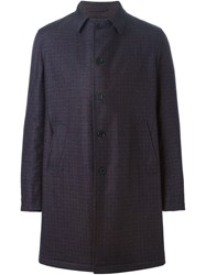 Lardini Checked Single Breasted Coat Blue