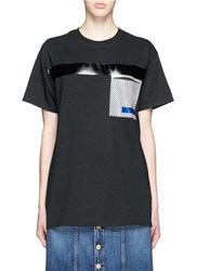 Toga Archives Glossy Checkerboard Pocket T Shirt Black