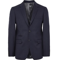 Nn.07 Midnight Blue Soho Slim Fit Wool Blend Flannel Blazer