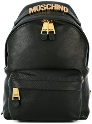 Moschino Logo Plaque Rucksack Black